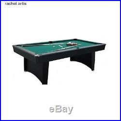 Game Room Pool Table Set Billiards Table 7 ft Cue Rack Balls Scratch Resistant