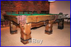 Grizzly 8' Hand-Crafted Rustic Log Pool Table Billiard Table for Log Home/Cabin
