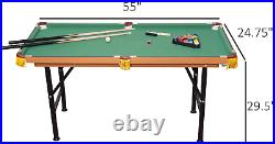 HOMCOM Portable Folding Billiards Game Pool Table 55'' with/ Cues Ball Rack Brush