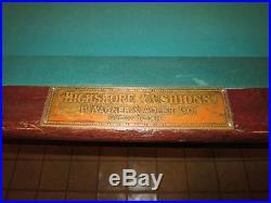 H. Wagner & Adler Co. 9ft Billiard Pool Table Antique c1880 Highskore Cushions