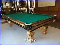 Inlayed 1890s antique brunswick billiards pool table