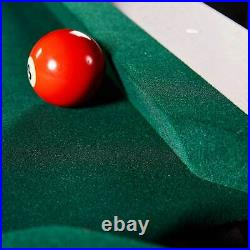 Lancaster 90 Inch Full Size Green Pool Table with Leather Pockets, Cues, and Chalk