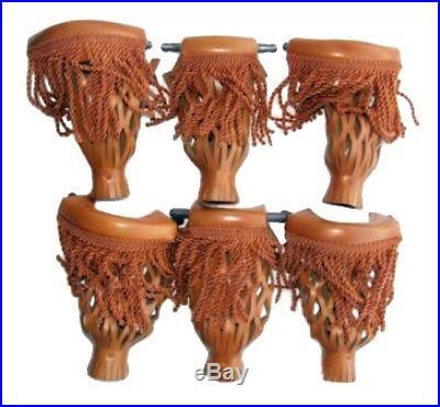 Leather Set Pool Table Billiard Pockets W Fringe Camel