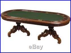 Maitland-Smith 8104-31 DARK ANTIQUED LIDO TEXAS HOLDEM POKER TABLE FELT, LEATHER