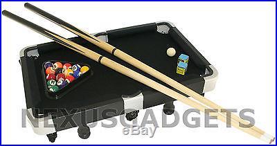 Mini BLACK Pool Table Small Billiard Game Set Travel Suitcase 19 Inch Billiards