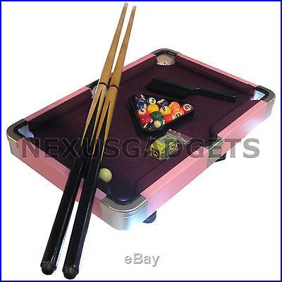 Mini PINK PURPLE Pool Table Small Billiard Game Set Travel Suitcase Girl 19 Inch