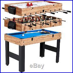 NEW MD Sports 48 3-In-1 Multi-Game Combo Table Billiards Slide Hockey Soccer