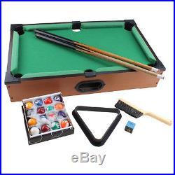 NEW Miniature Wooden Table Top Billiards Mini Tabletop Pool game set