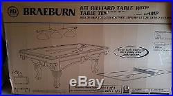 New 8 Ft Billiard Table with Table Tennis and Lamp