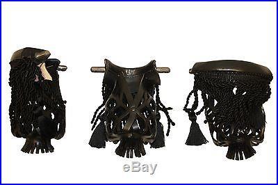 New Set of 6 Premium Leather Billiard Pool Table Pocket Black Fringe #6 iron