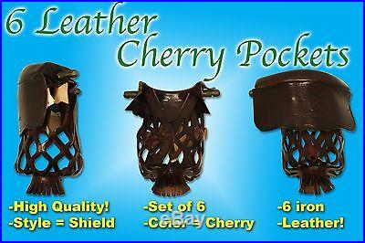 New Set of 6 Premium Leather Billiard Pool Table Pocket Cherry Shield #6 iron