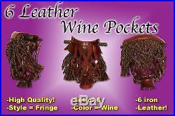 New Set of 6 Premium Leather Billiard Pool Table Pocket Wine Frigne #6 iron