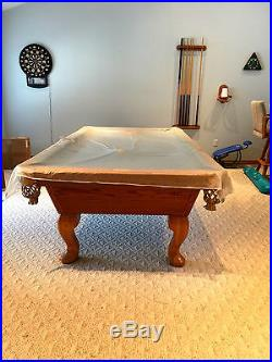 OLHAUSEN 8' SHERATON POOL TABLE WITH CURVED LEGS & ACCESSORIES
