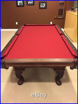 Olhausen 8' Americana Pool Table Burgundy Felt Top Excellent Condition