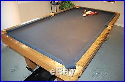 Olhausen 8' Wood 3-Piece Slate Pool/Billiards Table withLeather Pockets-Blue Cloth