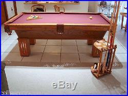 Olhausen Pool Table Gem Oak Custom Wine Felt Ping-Pong Top Cue Stand Cues