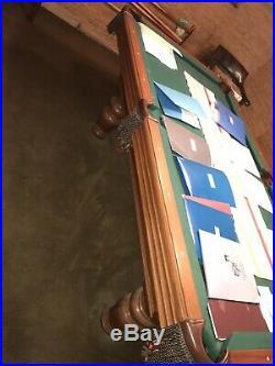 Olhausen Sheraton Oak 1970s VINTAGE 8 Feet Pool Table Green USA Made $3000+
