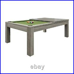 Penelope II Pool Table 8' with Dining Top Silver Mist Finish & Free Shipping