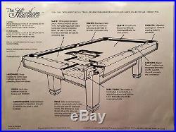 Pool Table 8 foot, Brunswick Billiards, Hawthorn, Color Honey, Aramith balls
