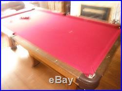 Pool Table 9 Ft by 5 Ft Antique Billiards Cue Sticks Saunier Wilheim Oak Veneer
