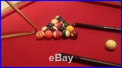 Pool Table Billiard Billiards Cues Balls Red Top Wood Triangle tables Burgundy