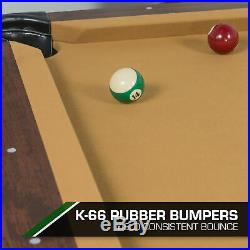 Pool Table Billiard Classic 87 Set Cues Balls Chalk Triangle Tan Cloth Cue Game