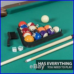 Pool Table Billiards 7.25 Foot Felt Cloth Classic Rustic Look Cue Ball 87 in