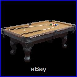 Pool Table Billiards 7.25 Foot Felt EastPoint Balls Cue Game Room Dorm Tan Cloth