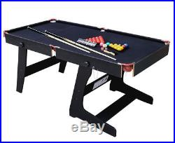 Pool Table Set for Kids Black Portable Folding Adults Foldable Indoor 6 Ft NEW