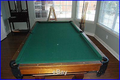 Pool Table Solid Slate Wood and Wall Rack