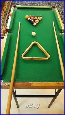 Pool table handmade Involve portable Billiards wood rare + balls+2cues