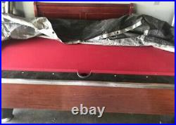 Pool table, red, commercial coin slot operated