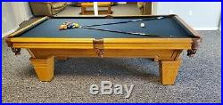 Pool table, solid oak with slate top 54 x 96 includes accessories