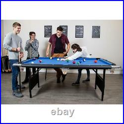 Portable Pool Table, 6-Ft, Blue/Black Rec Center Billiards Bar Game Room Family