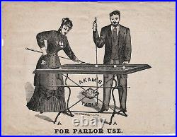 RARE Early American Billiards Pool Advertising Flyer ca 1860s Akam Table