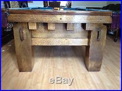 Rare 1908 Pool Table Brunswick Balke Collender Co Old Mission Style B 4 Leg