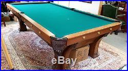 Restored Antique Oak Pool Table - Brunswick, Balke, Collender Co. PFISTER
