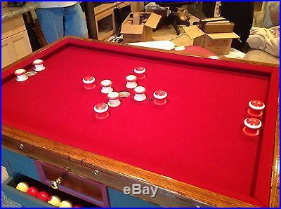 Restored Vintage Lighted Bumper Pool Table Beautiful! Oak Antique Billiard