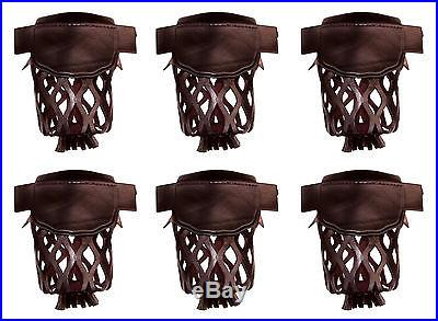 Set of 6 Leather Pool Table Billiard Pockets Dark Cherry W/ # 6 Irons