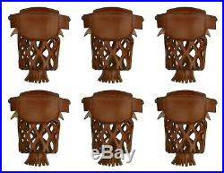 Set of 6 Leather Pool Table Billiard Pockets W # 6 Irons Caramel