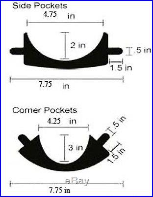 Set of 6 Pool Table Billiard Pockets w/ # 6 Irons