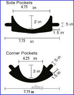 Set of Leather Pool Table Billiard Pockets W/#6 Irons Black