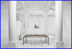 Silver 7' Modern Convertible Pool Billiard Table'Ultra' dining/desk/game table