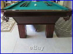 Slate Pool table green felt includes rack, balls, Cover, sticks, holder, Light