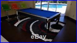 Spectrum 8' Pool Table, NEW, Black & Chrome Finish, 3pc Slate, FREE SHIPPING