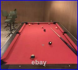 Sturdy Modern/Classic Billiard Pool Table, 8 ft + Triangle, Balls & Cues