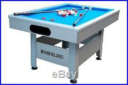 THE ORLANDO OUTDOOR BUMPER POOL TABLE IN SILVER withBLUE CLOTH BERNER BILLIARDS