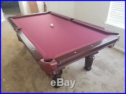 Unbranded pool table 8'x4' (3) solid slate, lamp, sticks, balls & accessories