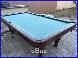 Used 97 Brunswick Billiard Pool Table With 4 Cues And Bridge Good Condition