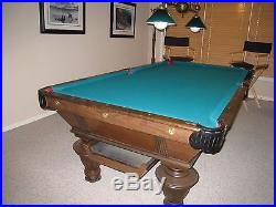 Vintage Antique Look 8' Pool Table And Brass Pendant Light+acc Local Pickup